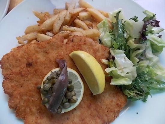 Lugano Swiss Bistro: breaded pork snitzel