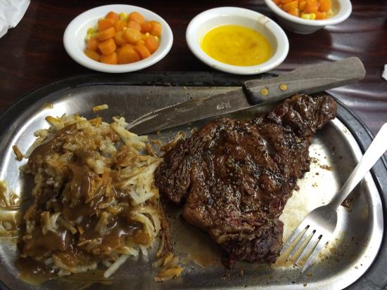 Cowboy Cafe: Ribeye, hash browns with brown gravy and veggies. Also, a bowl of melted butter to dip each bite