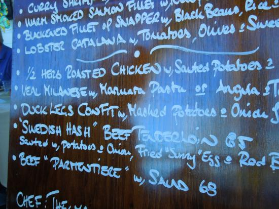 Cecilia's High Point Cafe: menu