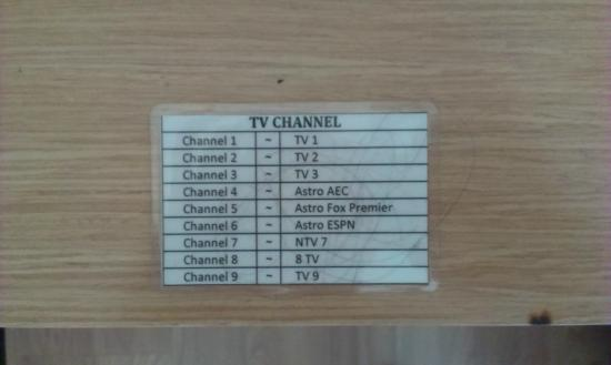 De Garden Hotel: Choice of television channels in room