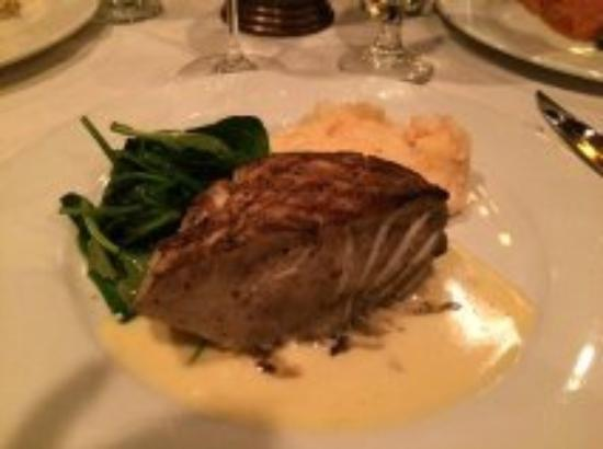 Embers Wood Grill: Sea Bass with spinach and lobster mashed potatoes