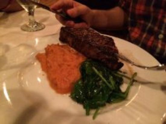 Embers Wood Grill: Strip steak with spinach and vanilla bourbon sweet potatoes