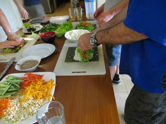 Raw Food Classes with Raw Food Bali: the guys making nori rolls