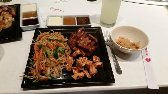 Teppan Edo : Steak & chicken with noodles and rice. Comes with 3 different dipping sauces.