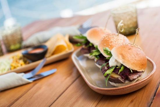 Anchorage Port Stephens : Wagyu beef sliders, beetroot relish, smoked cheese, mustard mayonnaise, rocket.