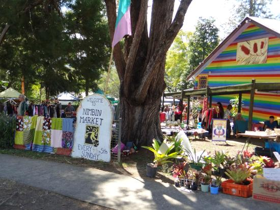 Nimbin Markets: The iconic rainbow painted buildings of the Community Centre