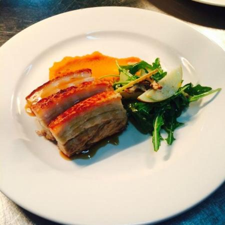Pippies by the Bay: Twice cooked Pork Belly, Sweet Potato Puree, Chilli Caramel Glaze, Apple & Walnut Salad