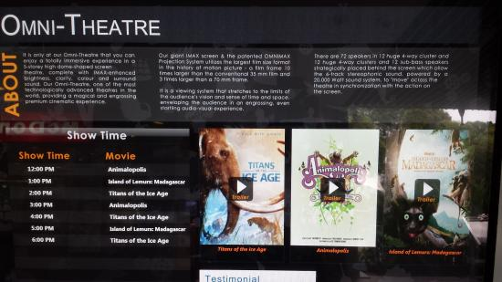 Omni-Theatre by Science Centre Singapore: Many Movies Selection