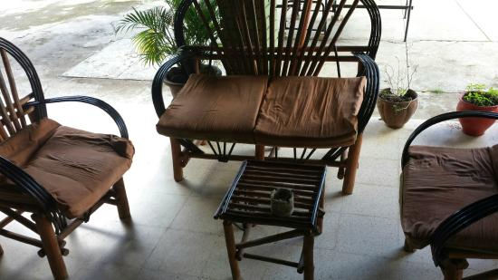 "Bambu Hostel: ""pee"" chair from the patio"