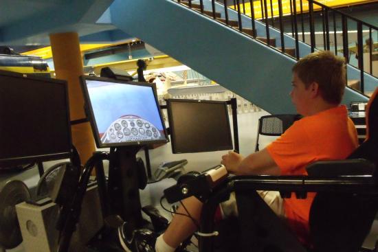Flight simulator game at science museum, oklahoma city