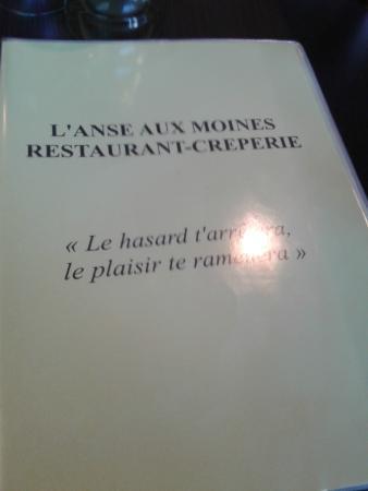 L'Anse aux Moines : carte menu
