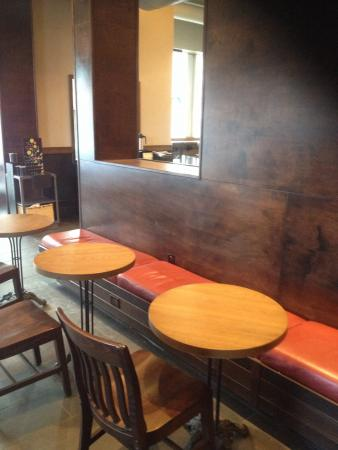 Starbucks: Ahh A Place To Comfortably Relax. Starbucks: More Comfortable  Bench Seating.
