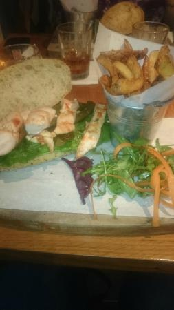 Treacle Bar and Kitchen: Kung po chicken sandwich and hand cut chips