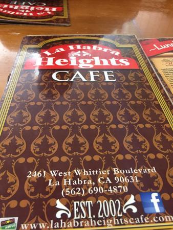 La Habra Heights Cafe Menu