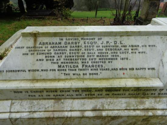The Foundry Masters House: Darby family gravestone in Holy Trinity Church