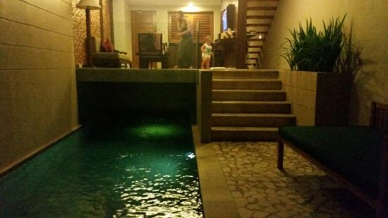 Villa Kayu Raja: Pool area, looking into outdoor lounge and kitchen, perfect ��