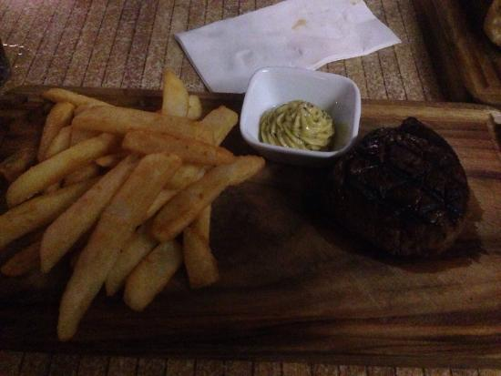 Waterfront Grill: Eye fillet steak and chips with roast garlic and truffle butter dip