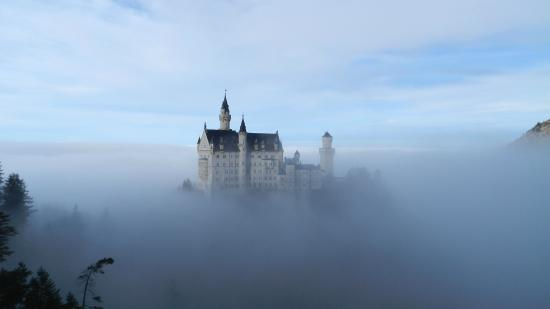 Big Hat Tours: Neuschwanstein Castle on a foggy day
