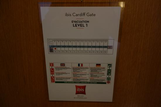 Ibis Cardiff Gate: Fire escape plan