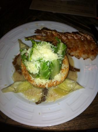 The Rooftop at Ocean Lodge: caesar tower and grilled shrimp