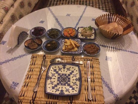 Riad Rcif: Appetizers from dinner! Eggplant prepared 2 different ways was my favorite.