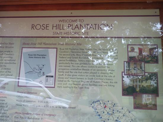 Rose Hill Plantation State Historic Site: info sign