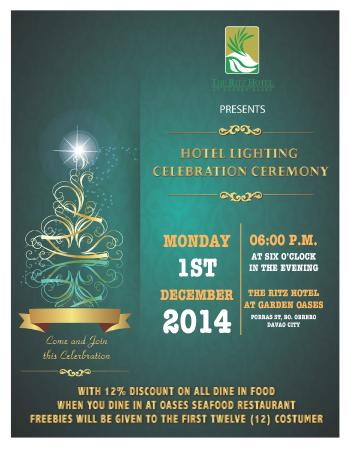 The Ritz Hotel At Garden Oases: Hotel Lighting Celebration Ceremony