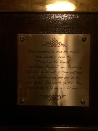 This is the placard inside the hotel elevator  - Picture of