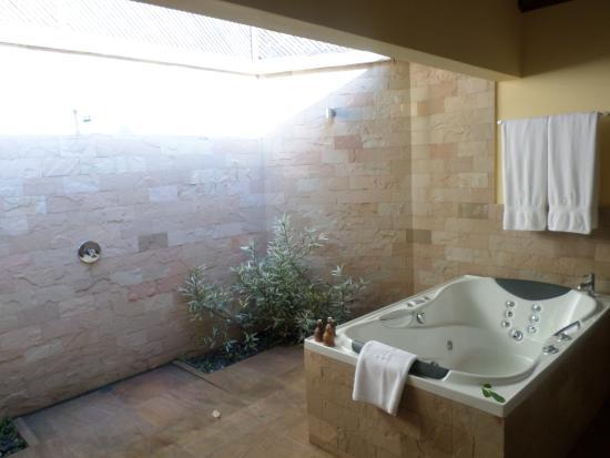 salle de bain semi ouverte sur l\'extérieur,baignoire douche avec ...