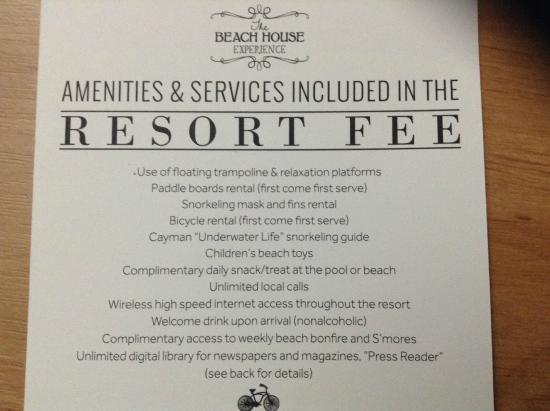 Grand Cayman Marriott Beach Resort : Resort Fee Services & Amenities