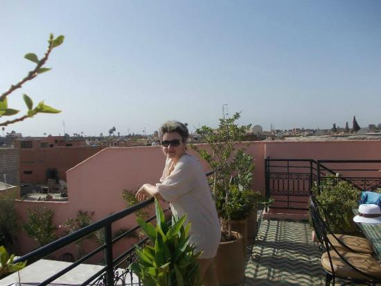 On the top terrace of the riad Lila, in the morning