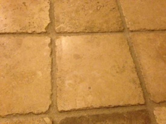 Inn at Churon Winery : Some of the spots are in the tile, some are on the tile and they are sticky