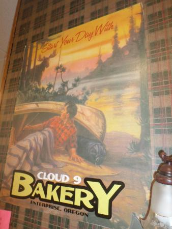 Cloud 9 Bakery and Deli: vintage poster on wall