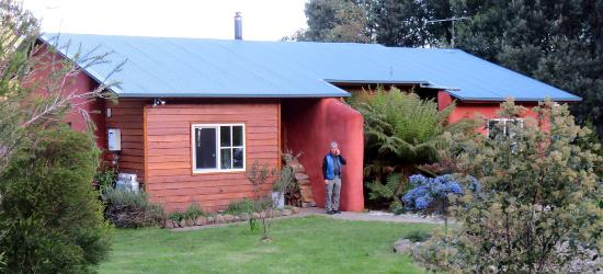 Whispering Spirit Cottages : Exterior of the 2-BR straw-bale cottage