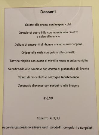 Menu Sample Picture Of Ristorante Al Camin Cortina D Ampezzo