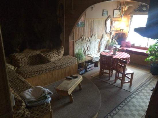Erratic Rock: The downstairs living/TV room and welcome area