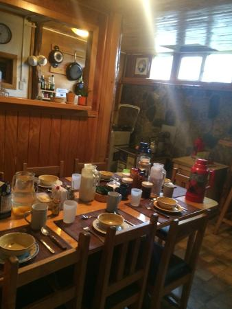 Erratic Rock: The breakfast table set up and kitchen *disclosure: post breakfast time