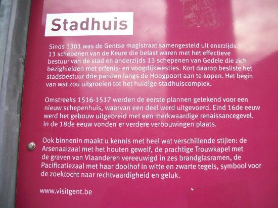 Ghent Town Hall (Stadhuis): Explications