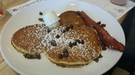 Butterfield's Pancake House: Kid's meal mike mouse pancakes with chocolate chips.  ...