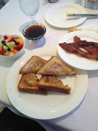 The Mansion Restaurant at Nottoway : french toast fruit and bacon