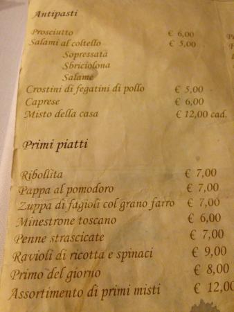 Restaurante Il Latini: Il menù