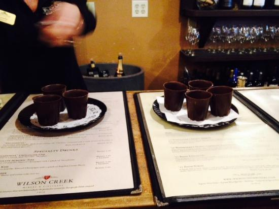 Wilson Creek Winery: Chocolate cups at Wilson Creek
