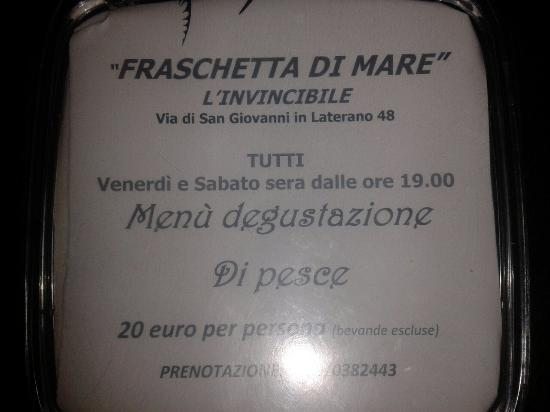 l 39 invincibile fraschettadi mare rome monti restaurant avis num ro de t l phone photos. Black Bedroom Furniture Sets. Home Design Ideas