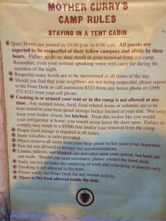 Half Dome Village: Many guests do not obey these rules. It is noisey