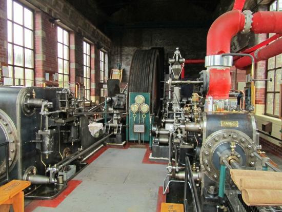 Barnoldswick, UK: Bancroft Mill Engine showing the two cylinders, James and Mary-Jane