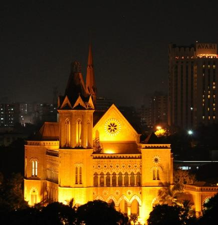 A view of Frere Hall at night