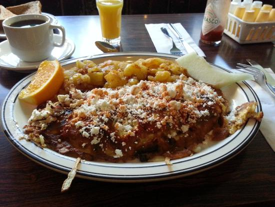 Golden Diner Family Restaurant: Feta Omelet Sprinkled with Hot Sauce at Golden Diner
