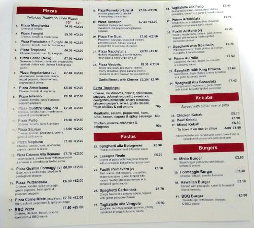 Coleraine, UK: Menu inside, Nov 2014