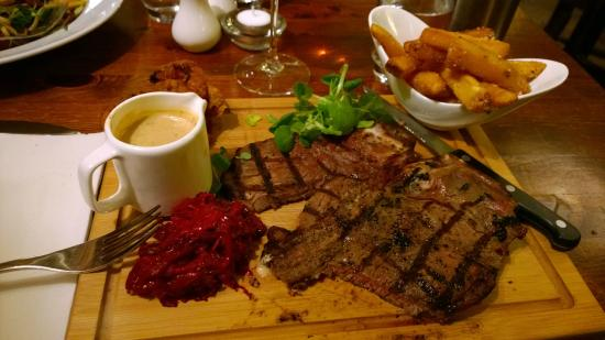Red Lion: T bone steak with a jug of deliciously creamy pepper sauce