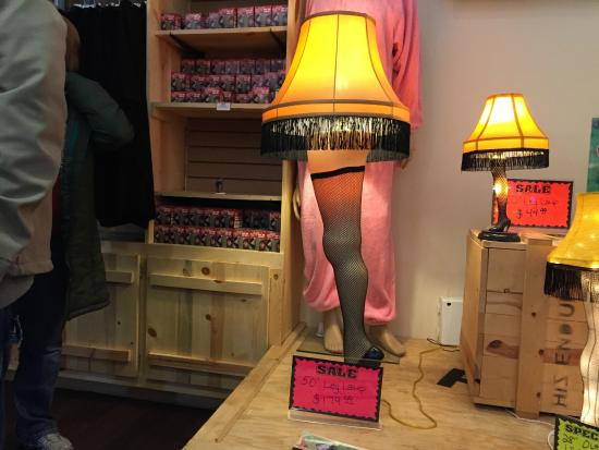 a christmas story house lamp for sale at gift shop